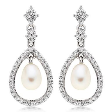 Silver Cubic Zirconia Freshwater Cultured Pearl Drop Earrings