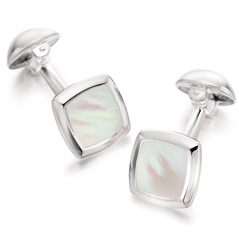 Men's Silver Mother of Pearl Cufflinks