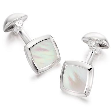 Men's Silver Mother of Pearl Men's Cufflinks