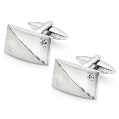 Stainless Steel Cubic Zirconia Cufflinks