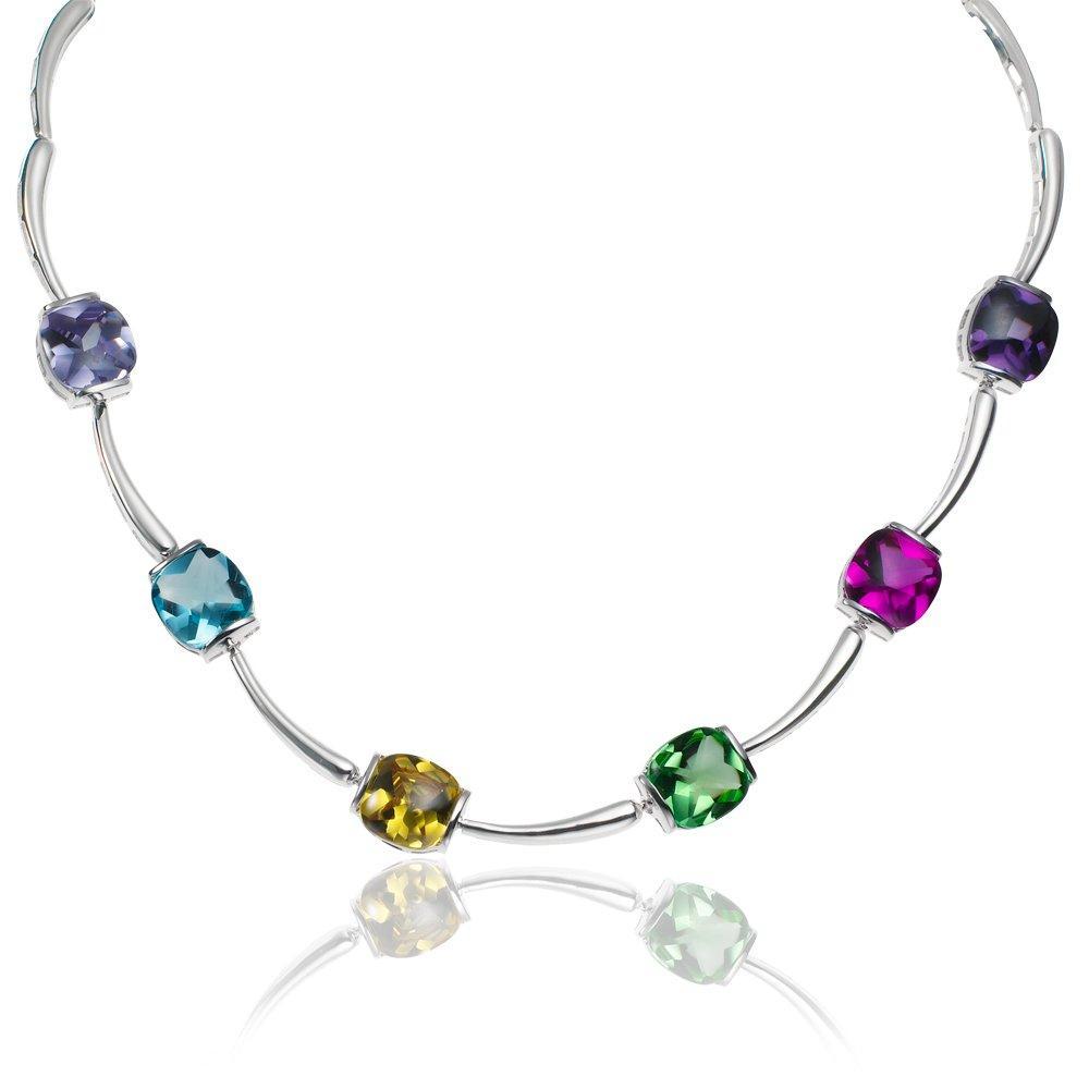 Silver Multi Coloured Stone Set Necklace - 44cm