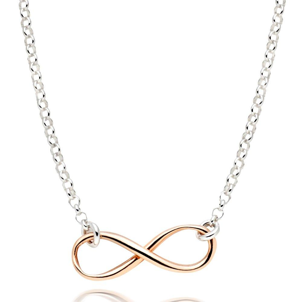 Silver and Rose Gold Plated Infinity Necklace