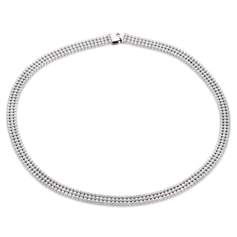 Silver Three Row Cubic Zirconia Collar Necklace