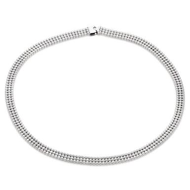 Silver Three Row Cubic Zirconia Collar Necklace