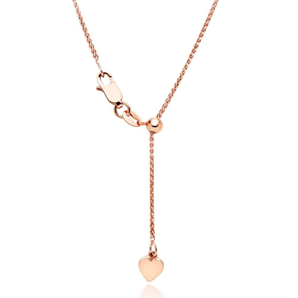 18ct Rose Gold Plated Silver Spiga Adjustable Chain 50cm