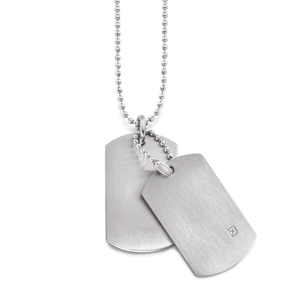 Stainless Steel and Cubic Zirconia Dog Tag Pendant