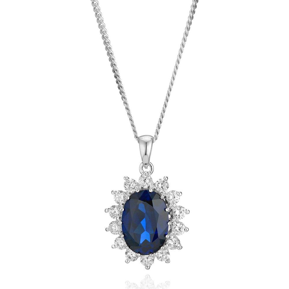 Silver Cubic Zirconia and Synthetic Sapphire Pendant