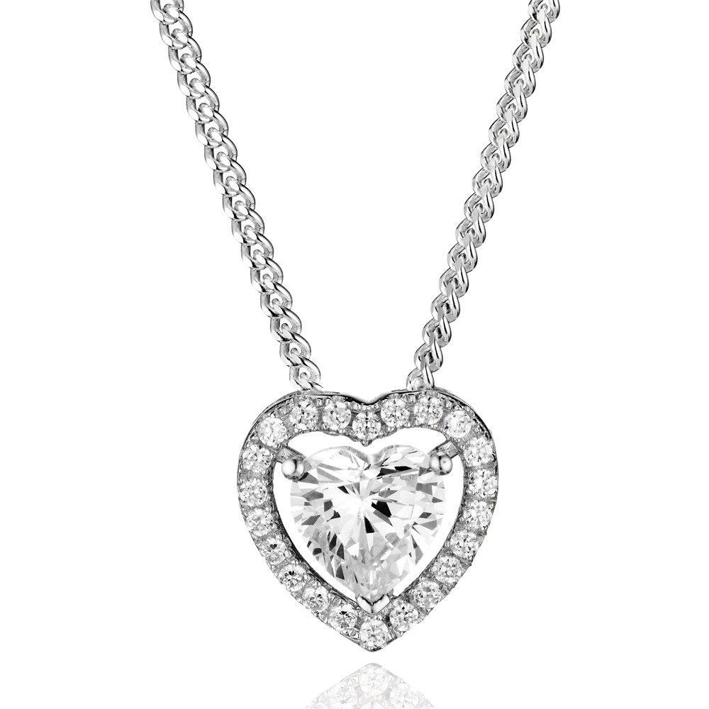 Silver Cubic Zirconia Heart Halo Pendant