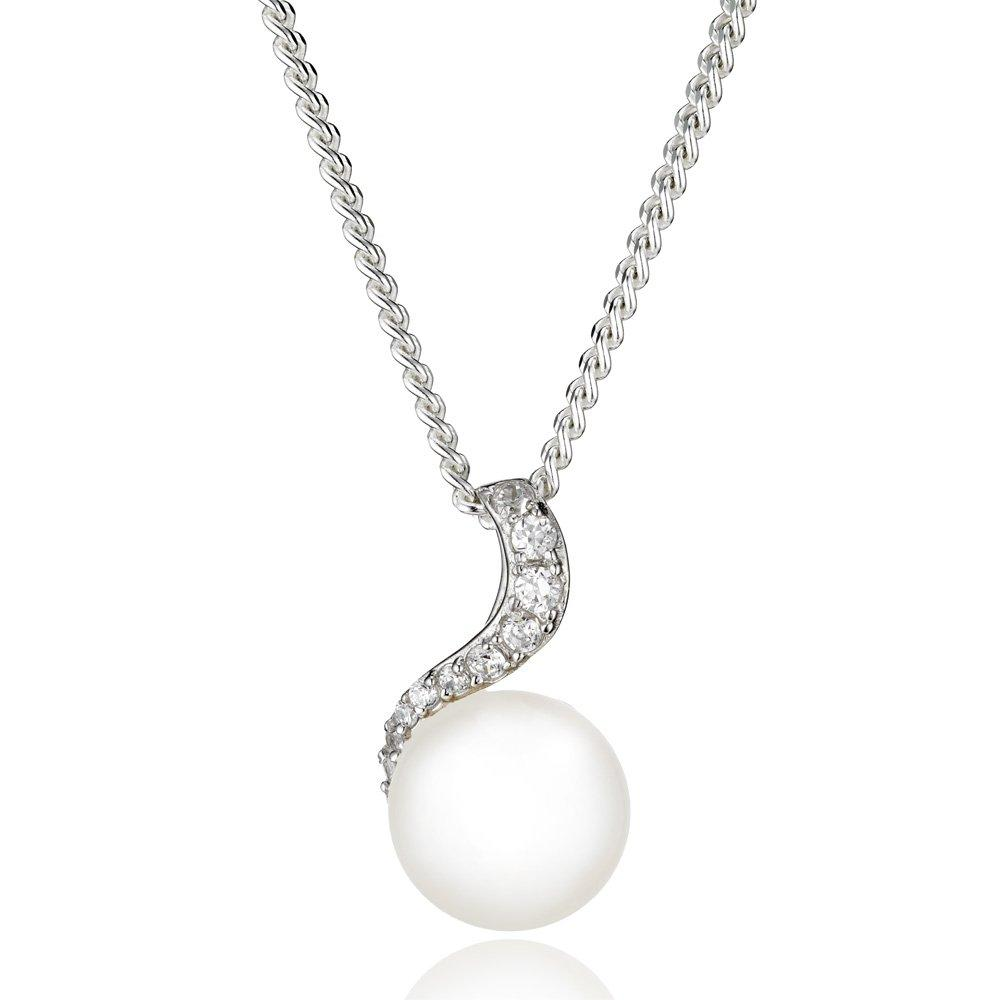 Silver Cubic Zirconia Freshwater Cultured Pearl Pendant
