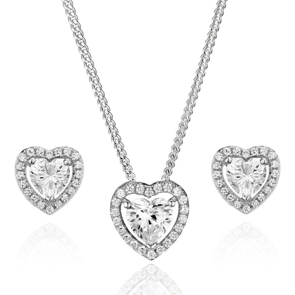 Silver Cubic Zirconia Heart Halo Pendant and Earrings Set