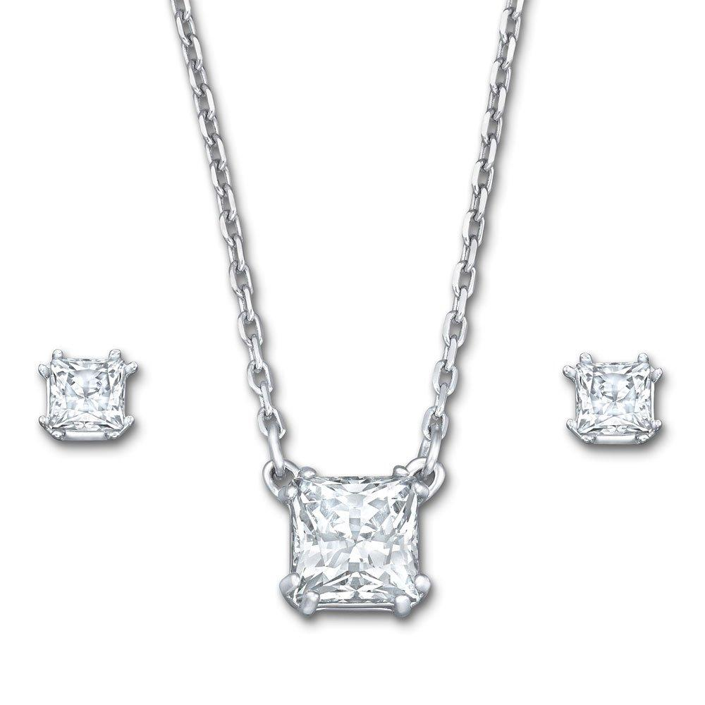 Swarovski Attract Rhodium Plated Crystal Pendant and Stud Earrings Set
