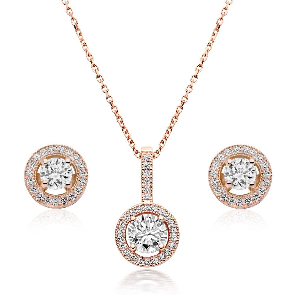 Silver Rose Gold Plated Cubic Zirconia Pendant and Stud Earring Set