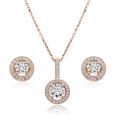 Rose Gold Plated Silver Cubic Zirconia Halo Pendant And Earrings Set 0007897 Beaverbrooks The Jewellers