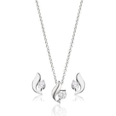 Silver Cubic Zirconia Pendant and Stud Earrings Set