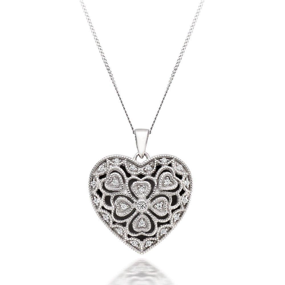 Silver Cubic Zirconia Heart Locket Pendant