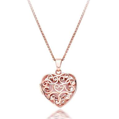 Silver Rose Gold Plated Heart Locket Pendant