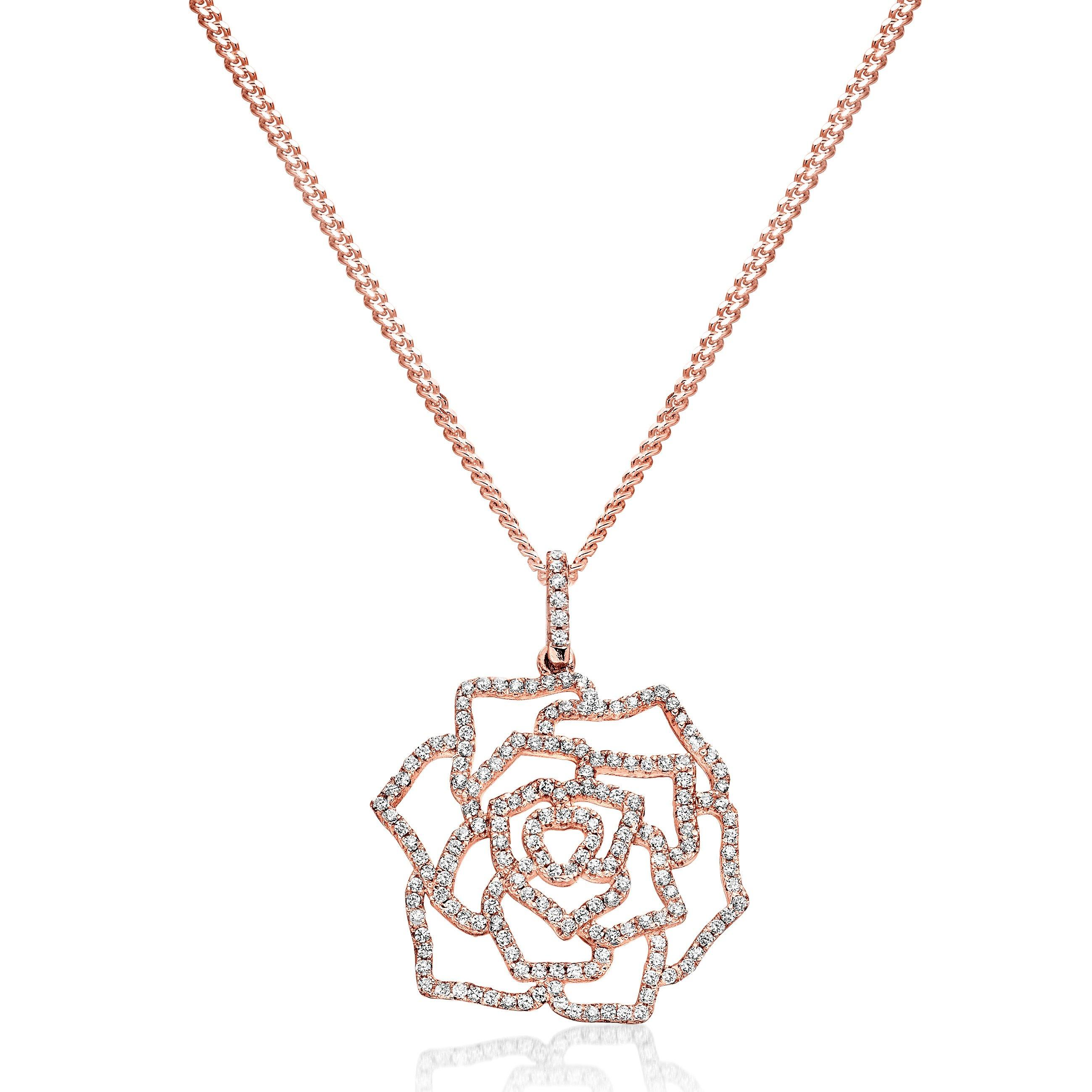 Silver Rose Gold Plated Cubic Zirconia Flower Pendant
