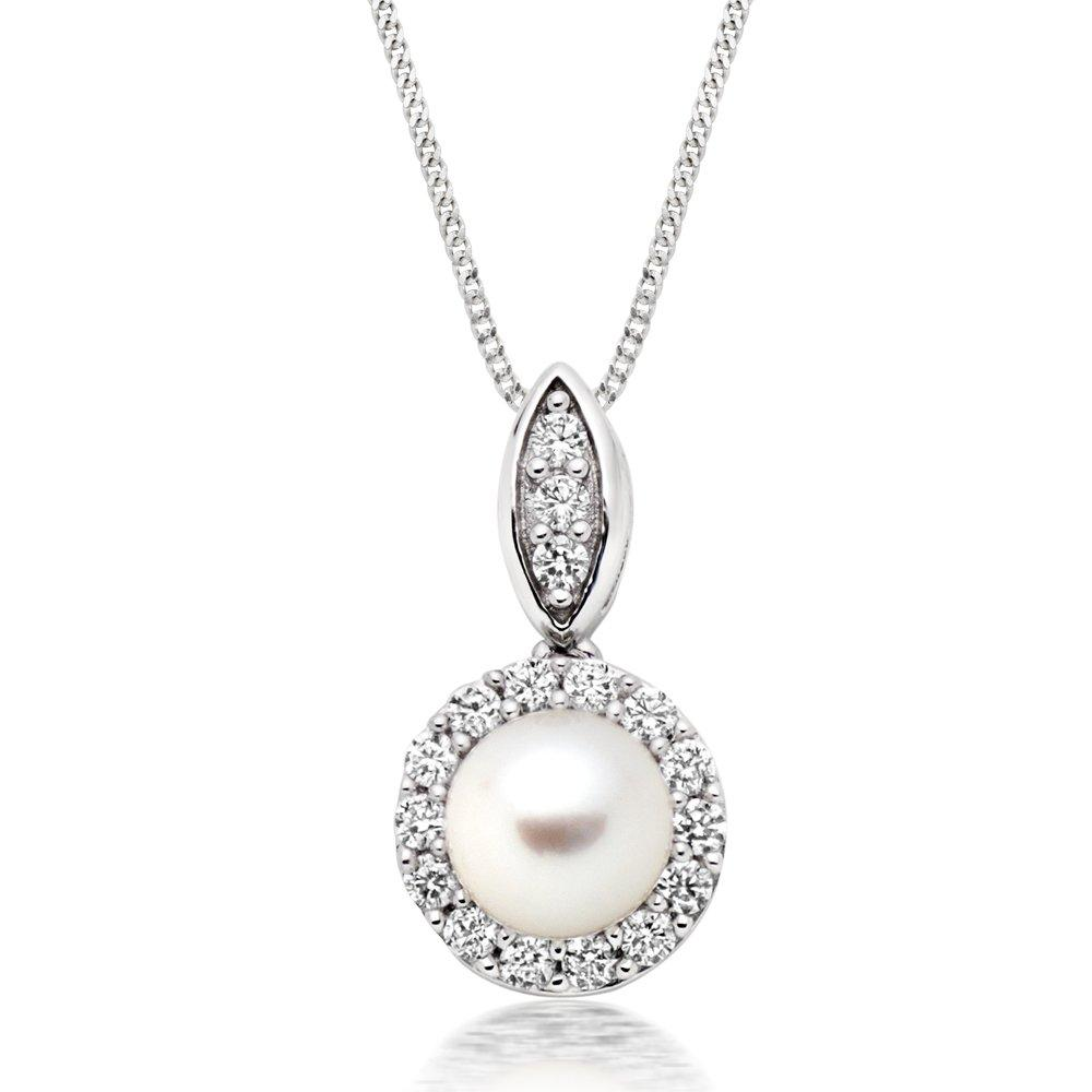 Silver Pearl and Cubic Zirconia Pendant