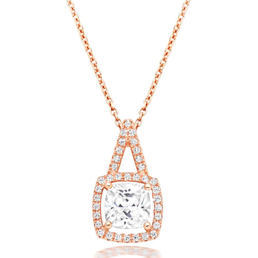 Silver Rose Gold Plated Cubic Zirconia Halo Pendant