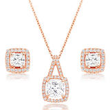 Silver Rose Gold Plated Cubic Zirconia Halo Pendant and Stud Earrings Set