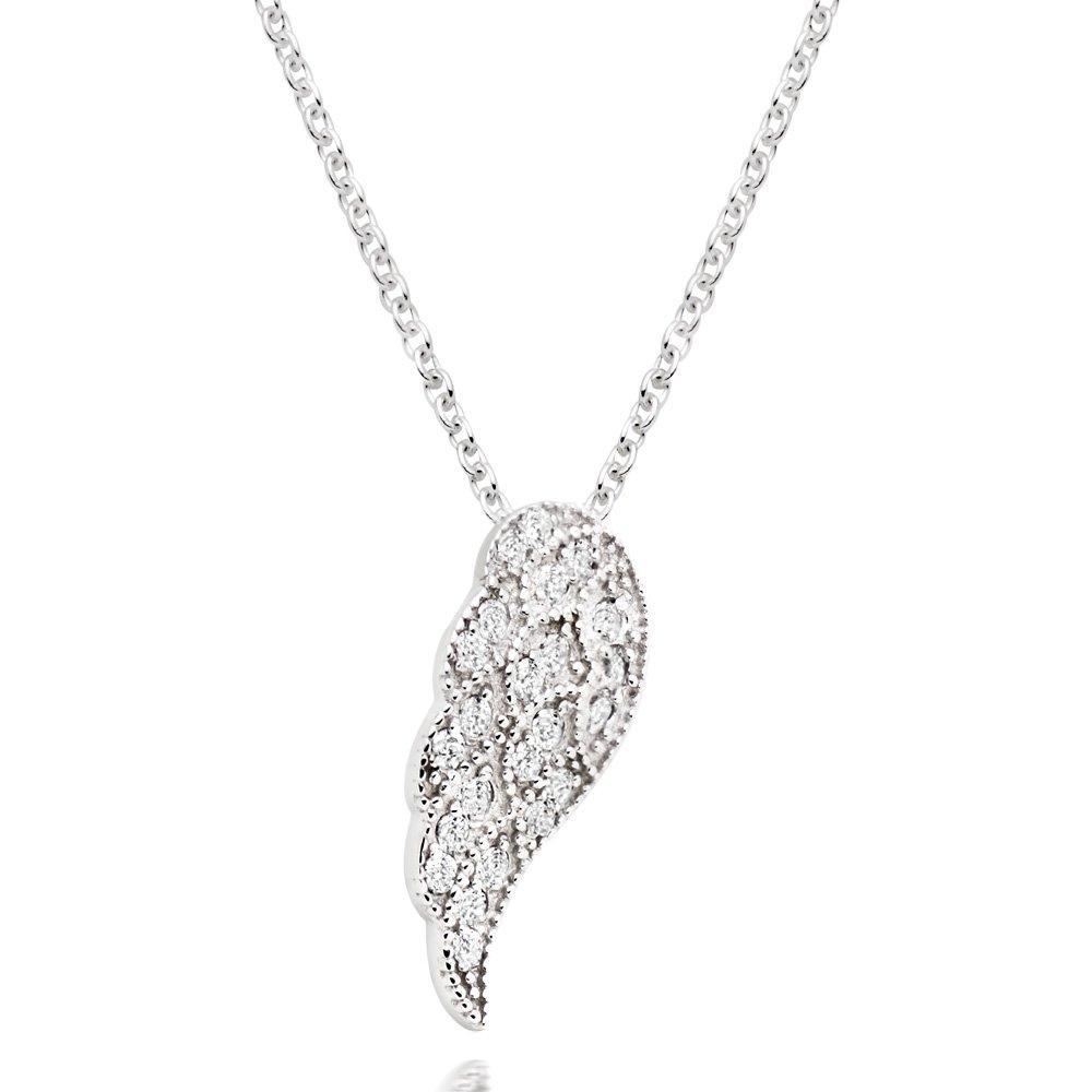 Silver Cubic Zirconia Angel Wing Pendant