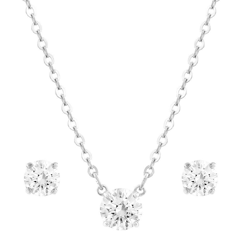 Swarovski Attract White Metal Crystal Pendant and Earrings Set