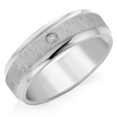 Titanium Diamond Set Men's Ring
