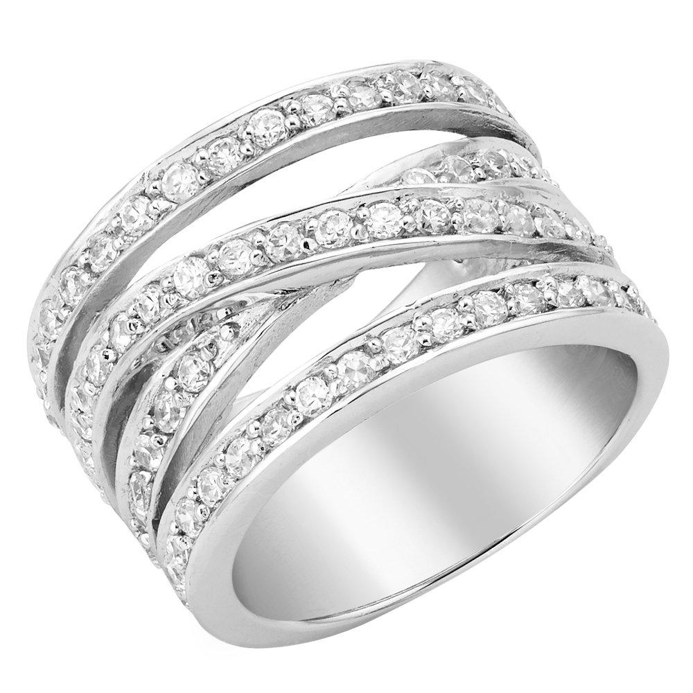 Silver Cubic Zirconia 4 Strand Cross Over Ring
