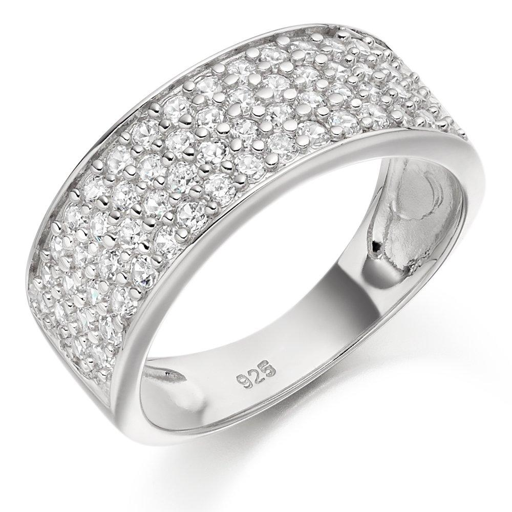 Silver Four Row Cubic Zirconia Ring