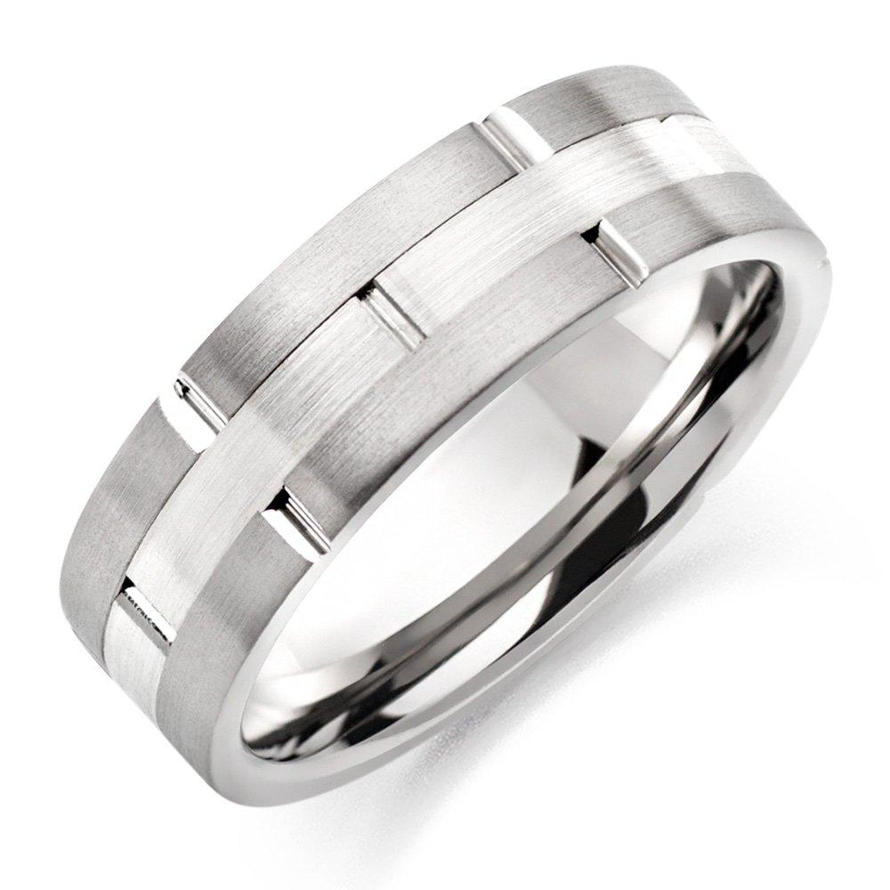 Men's Two Tone Brushed Titanium Ring