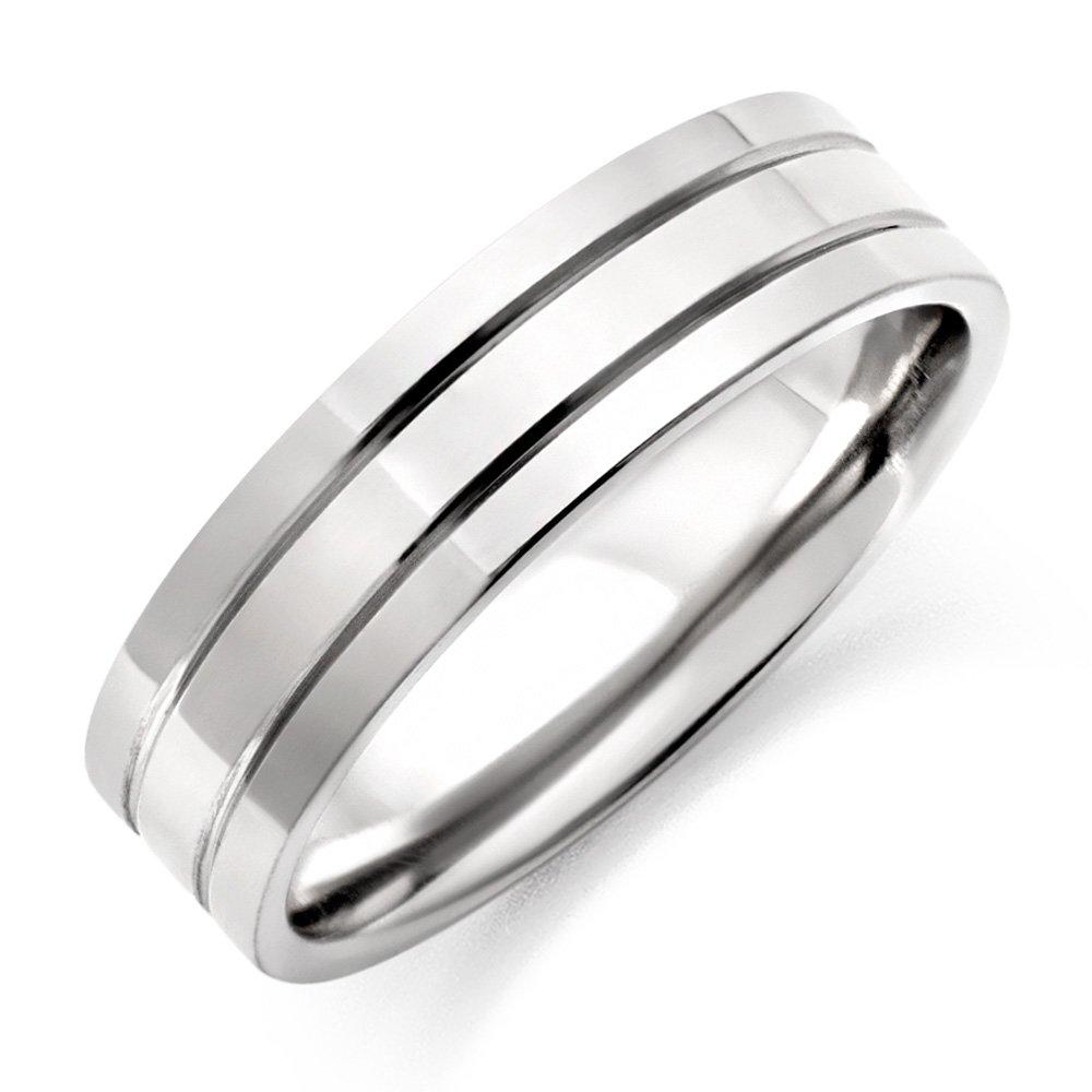Men's Ridged Titanium Ring