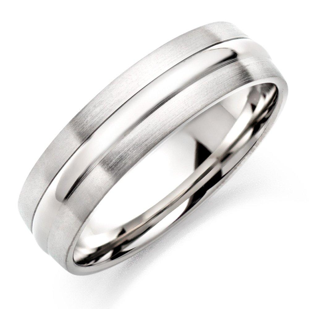 Men's Brushed & Polished Titanium Ring