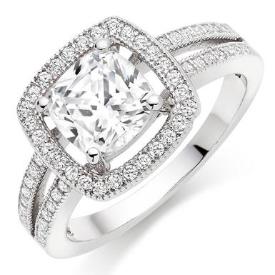 Silver Cubic Zirconia Halo Cluster Ring