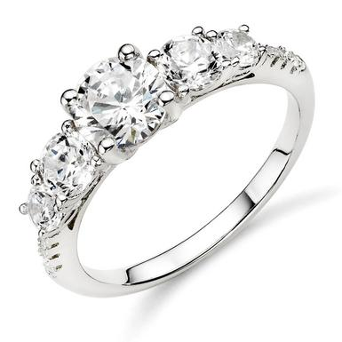 Silver Cubic Zirconia Five Stone Ring