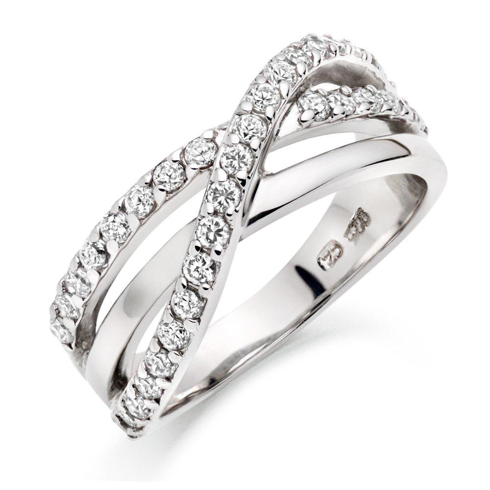 Silver Cubic Zirconia Three Row Ring