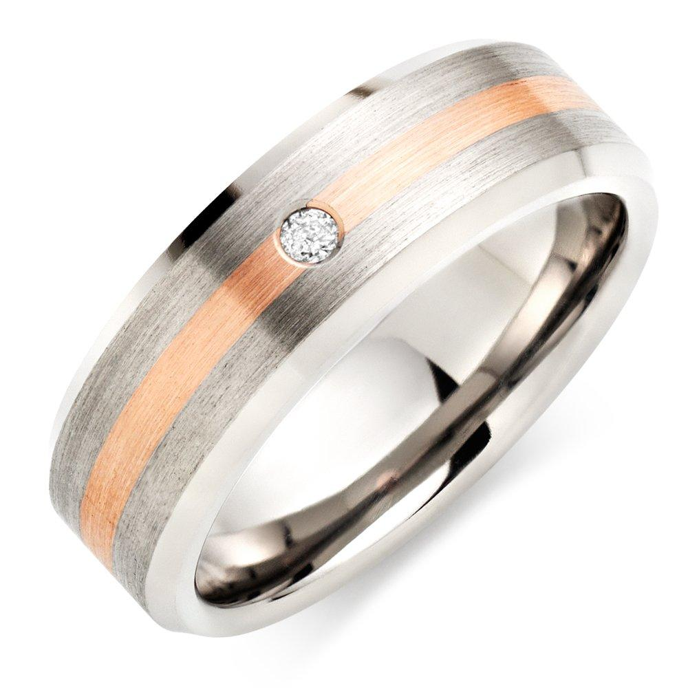 Titanium and 9ct Rose Gold Diamond Men's Wedding Ring