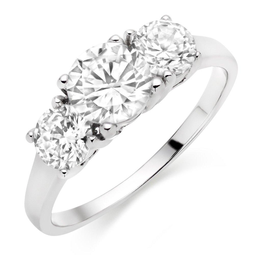 Silver Cubic Zirconia Three Stone Ring