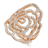 Silver Rose Gold Plated Cubic Zirconia Flower Ring
