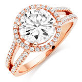 Silver Rose Gold Plated Cubic Zirconia Ring