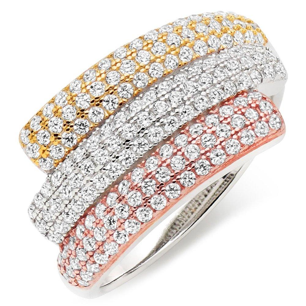 Silver Three-Colour Cubic Zirconia Ring