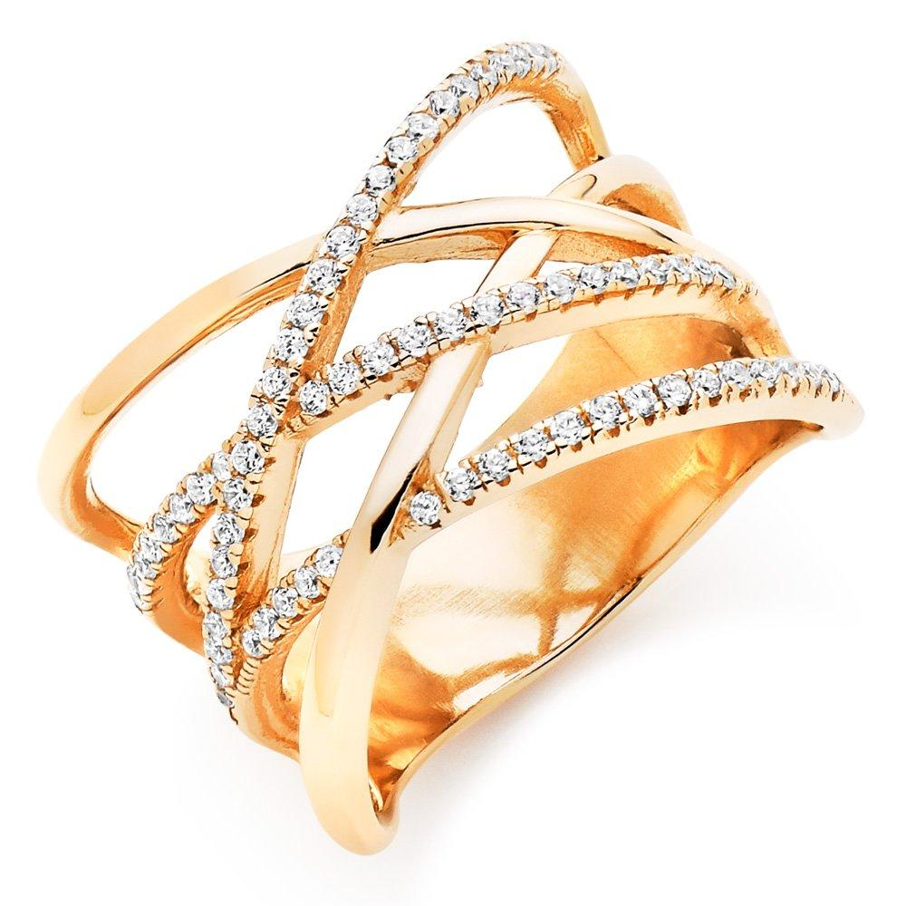 Rose Gold Plated Cubic Zirconia Wrap Over Ring