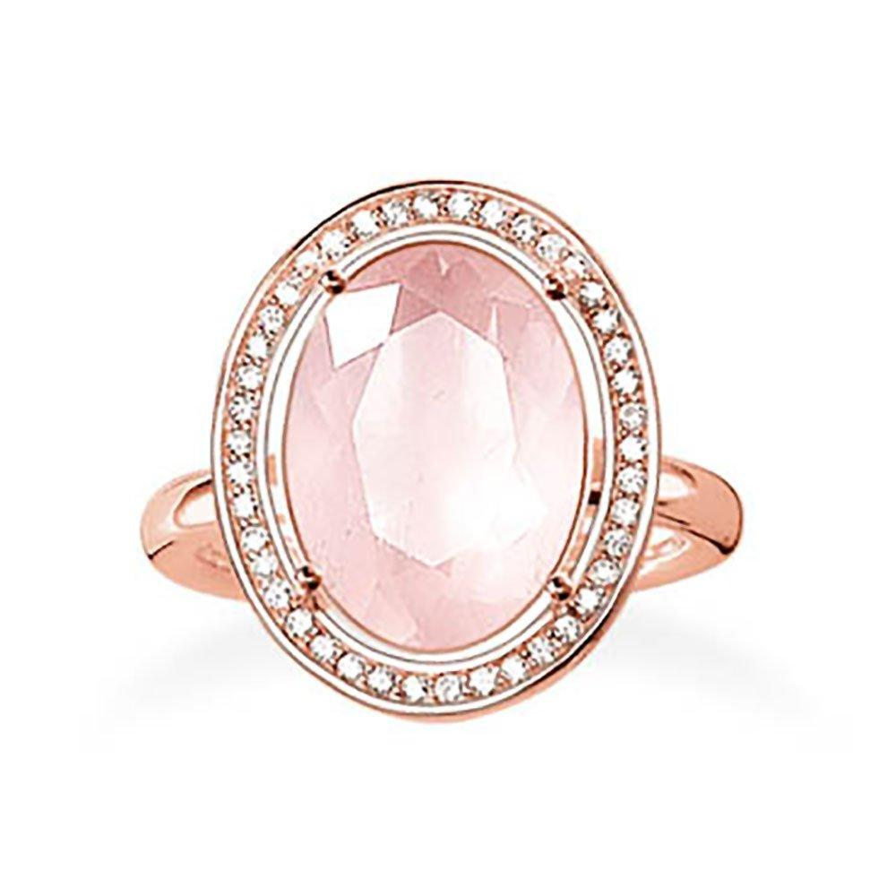 Thomas Sabo Glam & Soul 18ct Rose Gold Plated Cubic Zirconia Rose Quartz Ring