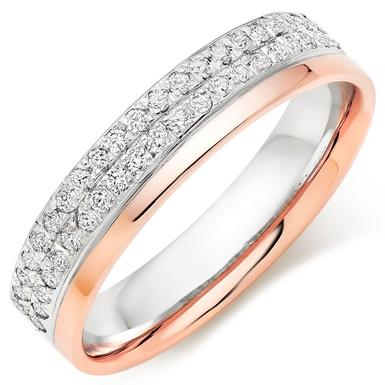 18ct White Gold and Rose Gold Diamond Wedding Ring