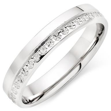 18ct White Gold Sparkle Cut Ladies Ring