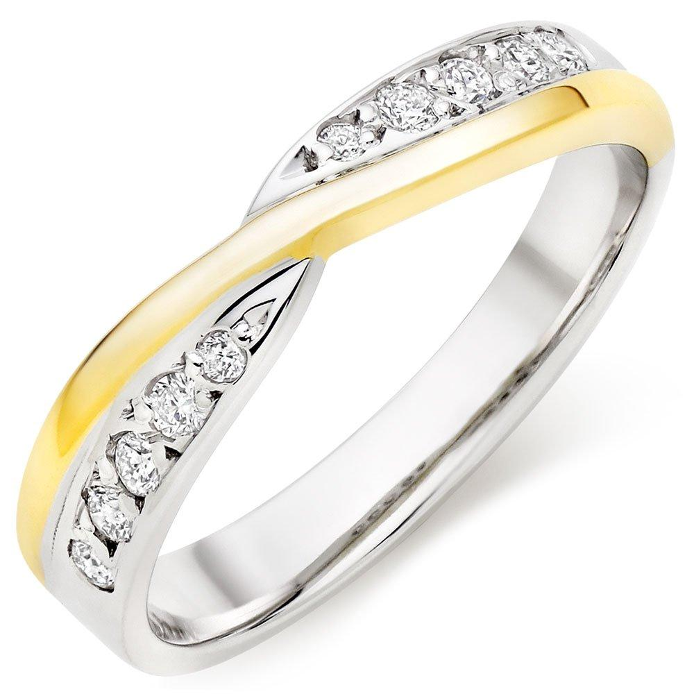 9ct Gold and White Gold Diamond Ladies Wedding Ring