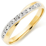 9ct Gold and White Gold Diamond Wedding Ring