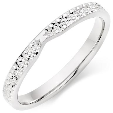 18ct White Gold Sparkle Cut Wedding Ring
