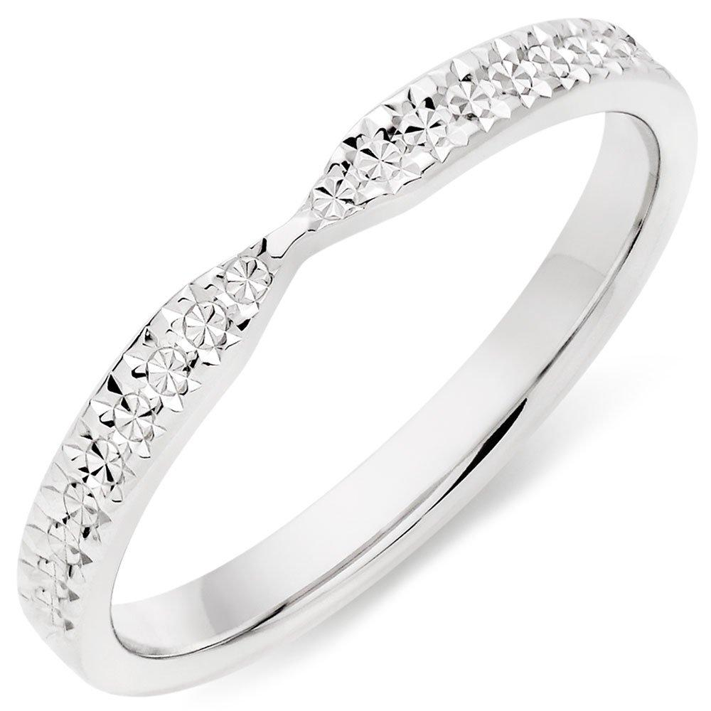 18ct White Gold Sparkle Cut Ladies Wedding Ring