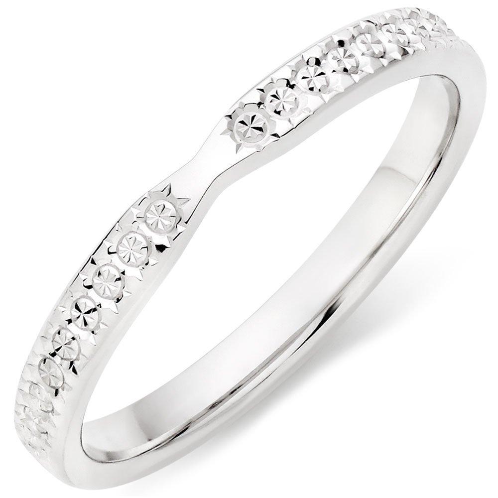 9ct White Gold Sparkle Cut Ladies Wedding Ring