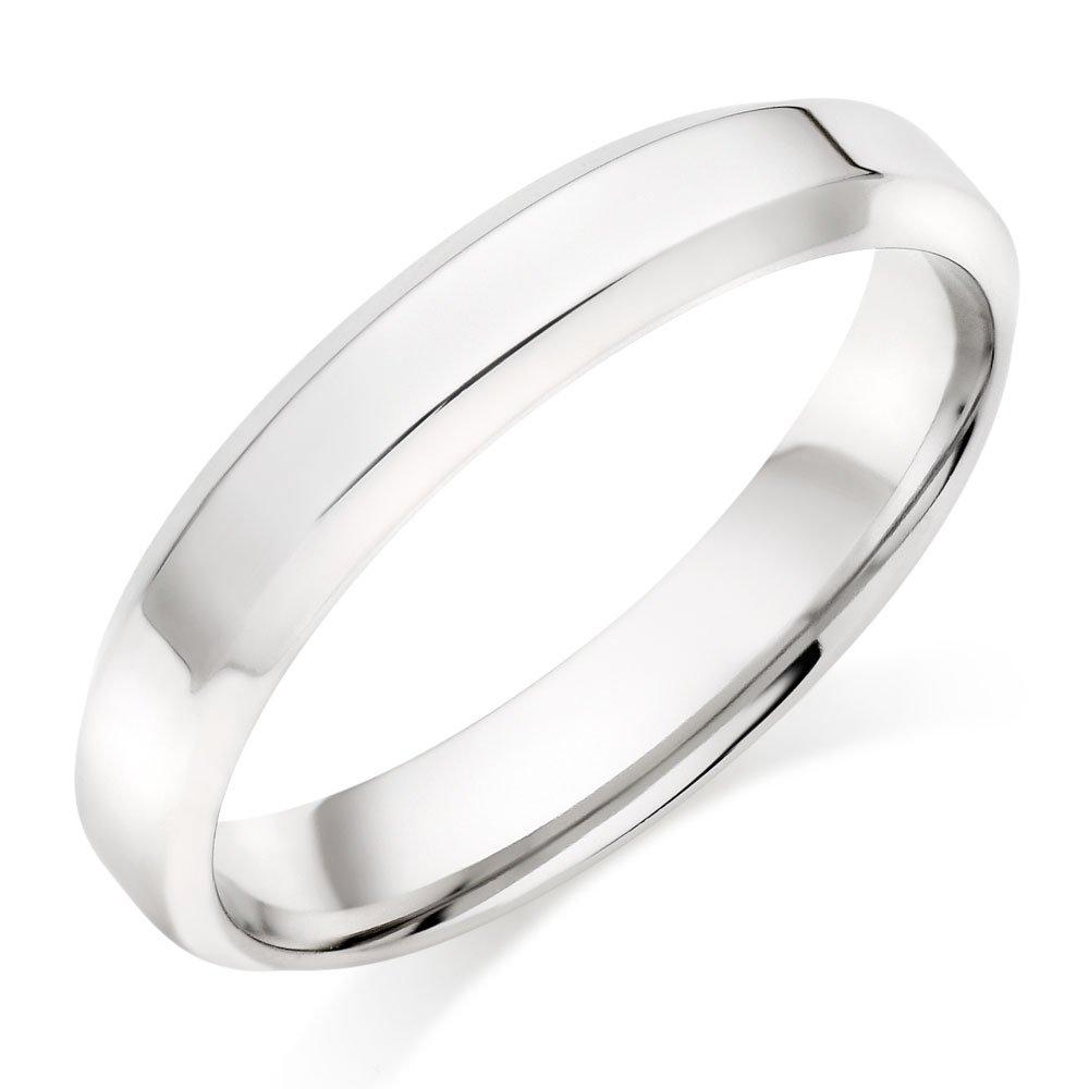 Platinum Chamfered Edge Men's Wedding Ring
